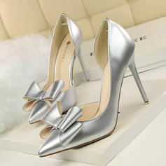 Vrouwen Patent Leather Stiletto Heel Pumps Closed Toe met strik schoenen