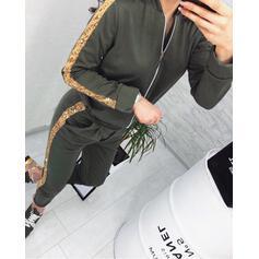 Asimétrico Manga Larga Piel de serpiente De moda Conjuntos de top y pantalones