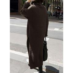 Pevný Chunky pletené Rolák Svetrové šaty