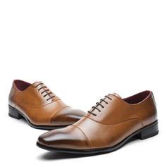 Cap Toes Aplicação de renda Sapatos De Vestido Couro Verdadeiro Homens Oxfords Masculinos