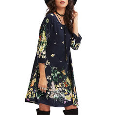 Print/Floral 3/4 Sleeves Shift Knee Length Casual/Boho Dresses
