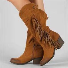Frauen Veloursleder Stämmiger Absatz Stiefel-Wadenlang mit Reißverschluss Quaste Knopf Schuhe