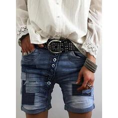 Patchwork Bolsillos Sexy Flaco Pantalones cortos