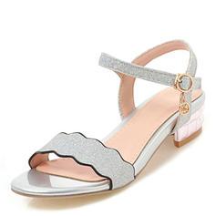 Femmes Pailletes scintillantes Talon bas Sandales À bout ouvert avec Boucle chaussures