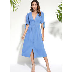 Solid Short Sleeves A-line Skater Casual/Vacation Midi Dresses