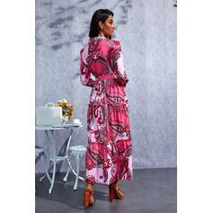 Imprimeu Mâneci Lungi Bir Çizgi Patenci gündelik Maxi Elbiseler