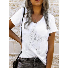 Sequins V-Neck Short Sleeves Casual T-shirts