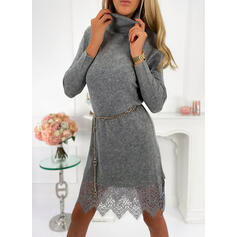 Solid Lace Turtleneck Casual Long Sweater Dress