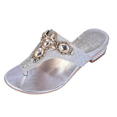 Women's Sparkling Glitter Low Heel Sandals Flats Slippers With Rhinestone Crystal shoes