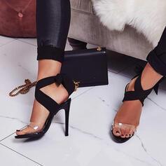 Femmes PU Talon stiletto Escarpins avec Dentelle Transparent Entrecroisement chaussures