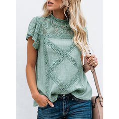 Lace Stand-up Collar Short Sleeves Casual Elegant Blouses