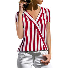Striped V-Neck Short Sleeves Casual Shirt Blouses