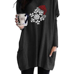 Print Sequins Pockets Round Neck Long Sleeves Christmas Sweatshirt