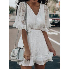 Lace/Solid 1/2 Sleeves A-line Above Knee Casual/Elegant Dresses