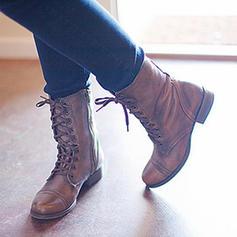 Femmes PU Talon plat Chaussures plates Bout fermé Bottes avec Dentelle chaussures