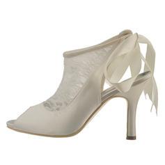 Women's Lace Satin Stiletto Heel Peep Toe Sandals Slingbacks