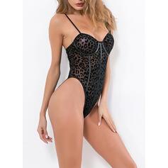 Poliéster Correia de espaguete Sexy Roupas íntimas Leopardo Body