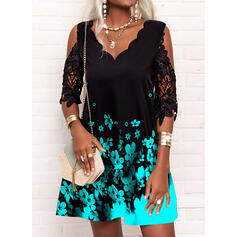 Print/Floral Lace 1/2 Sleeves Cold Shoulder Sleeve Shift Above Knee Casual Tunic Dresses