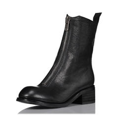 Women's Real Leather Flat Heel Flats Mid-Calf Boots With Zipper shoes