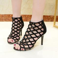 De mujer PU Tacón stilettos Sandalias Salón Encaje con Agujereado zapatos