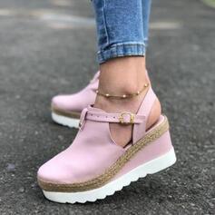 Mulheres Camurça Plataforma Bombas Fechados Calços Sapatos abertos com Fivela sapatos
