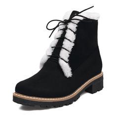 Femmes Suède Talon bas Bottes Bottines Bottes neige Bottes cavalières avec Dentelle Fausse Fourrure chaussures