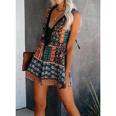 Print/Floral Sleeveless Shift Above Knee Sexy/Casual/Boho/Vacation Tank Dresses