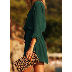 Solid 3/4 Sleeves A-line Above Knee Casual Dresses