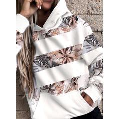 Print Floral Pockets Long Sleeves Hoodie