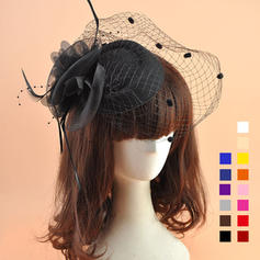 Ladies ' Smukke Organzastof med Fjer Fascinators/Tea Party Hats