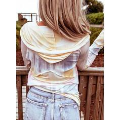 Tie Dye Sweat-shirt Manches Longues Boutonnée Décontractée Blouses