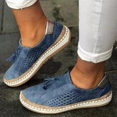 Women's PU Flat Heel Flats Low Top Round Toe With Hollow-out Tassel Solid Color shoes