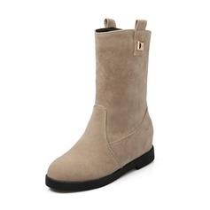 Femmes Suède Talon compensé Escarpins Plateforme Bout fermé Bottes Bottes mi-mollets chaussures