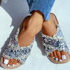 Femmes PU Talon plat Sandales À bout ouvert Chaussons avec Paillette Entrecroisement chaussures