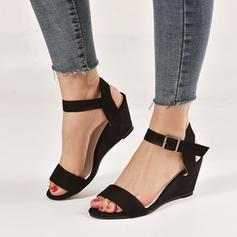 Femmes Tissu Talon compensé Sandales À bout ouvert avec Boucle chaussures