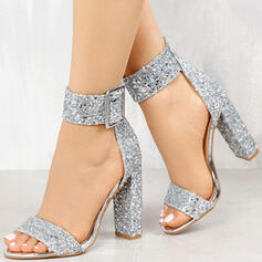 Women's Leatherette Chunky Heel Sandals Pumps Peep Toe Heels With Sequin Sparkling Glitter Buckle shoes