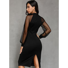 Solid Long Sleeves Sheath Little Black/Party/Elegant Midi Dresses