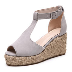 Femmes Similicuir Talon compensé Sandales Plateforme Compensée À bout ouvert avec Boucle chaussures