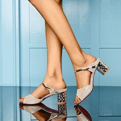 Femmes PU Talon bottier Sandales À bout ouvert Chaussons avec Strass Rivet chaussures