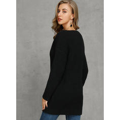 Solid Waffle Knit V-Neck Casual Sweaters