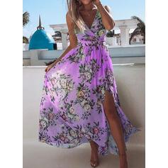Kwiatowy Bez rękawów W kształcie litery A Casual Midi Sukienki