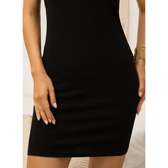 Solid Sleeveless Bodycon Above Knee Little Black/Casual/Vacation Tank Dresses
