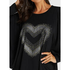 Stampa Cuore Girocollo Batwing Sleeve Casuale Camicie
