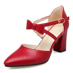 Women's Leatherette Chunky Heel Sandals Pumps Closed Toe With Bowknot shoes