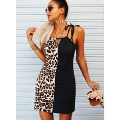 Color Block/Leopard Sleeveless Sheath Above Knee Casual Slip Dresses