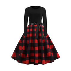 Plaid Long Sleeves A-line Knee Length Party/Elegant Dresses