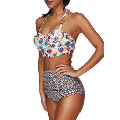 Floral Underwire Halter Sexy Plus Size Bikinis Swimsuits
