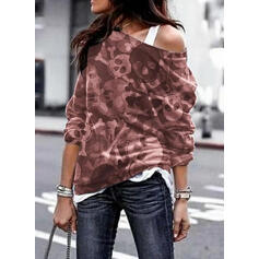 Inmprimé Halloween One Shoulder Manches longues Sweat-shirts