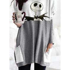 Drucken Halloween Rundhals Lange Ärmel Pullover