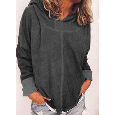 Solid Long Sleeves Casual Knit Blouses